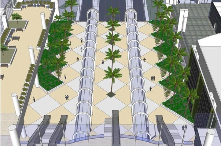 OIA Intermodal Site Interior Landscape Escalator
